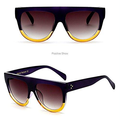 Mujer Vintage sol Retro Oversized UV400 Flat Trendy de Top F Feicuan lentes Gafas 5 para Outdoor pW0BwnCxXq