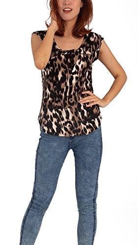 TEX & FREE Women Round Neck Leopard Print Short Sleeve Knit Sweater Top Vest