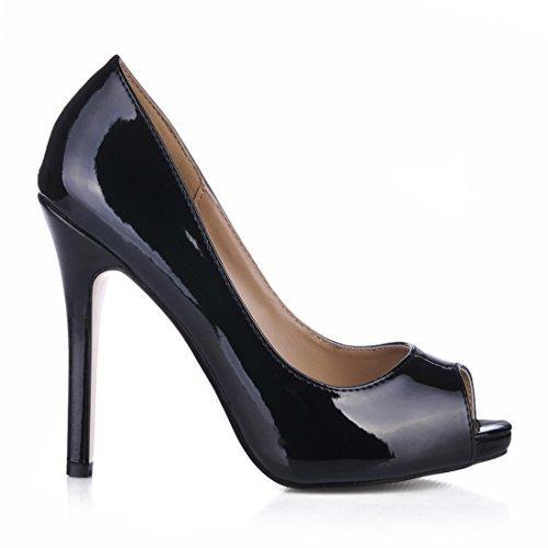 Sexy Spillo Piattaforma Nero Partito Peep a Toe CHAU Scarpe Alto CHMILE Tacco 1cm Pompe da Donna Moda T8xq1czw6