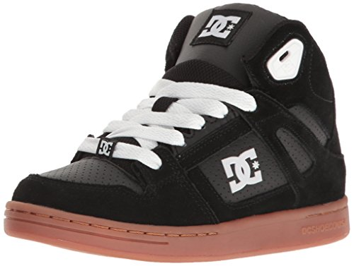 DC Rebound Sneaker (Little Kid/Big Kid), Black/Gum, 5 M US Big Kid