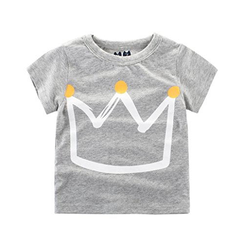 Moonker Baby Tops for 2-7 Years Old,Toddler Infant Boys Girls 2018 Summer New Pattern Short Sleeve Casual Tees T-Shirts (1-2 Years Old, Gray) -