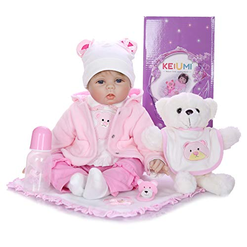 KEIUMI 22'' 55 cm Reborn Doll Lifelike Soft Silicone Vinyl Girl Doll Cloth Body with Bear Toy 9pcs Accessories from KEIUMI