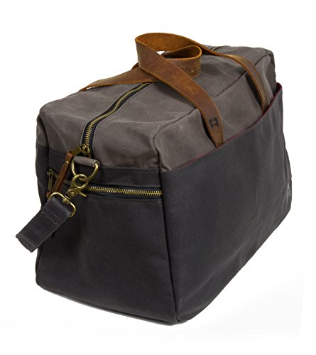 Waxed Cotton Canvas Duffel Bag with Leather Handles | the Whitman Weekender Duffel by FAT FELT by FAT FELT (Image #3)