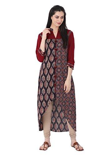 "Lagi Designer Cotton Layered Kurti for Women Printed Tunic Top Collar ¾ th Sleeve Dress"" (S, ()"