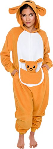 Kangaroo Costume Face - Slim Fit Animal Pajamas - Adult One Piece Cosplay Kangaroo Costume by Silver Lilly (Orange / White, Large)