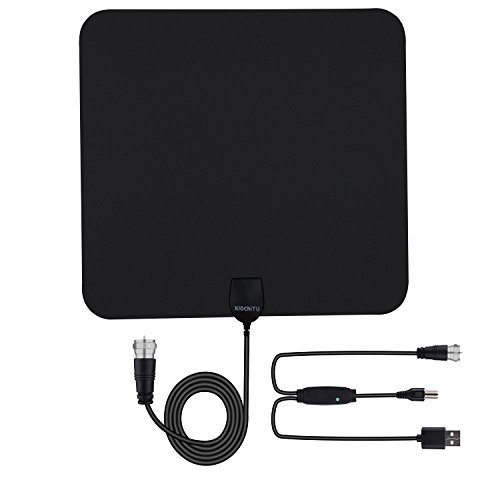 HDTV Antenna, WochiTV 50 Mile Range Indoor Antenna Digital TV Antenna with Detachable Amplifier Signal Booster, USB Power Cable and 20 Feet High Performance Coax Cable for TV Programme Black