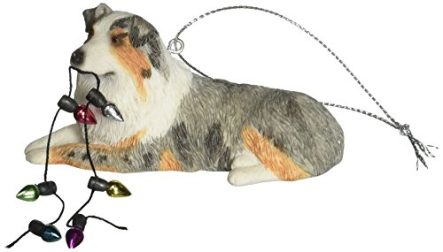Sandicast Blue Merle Australian Shepherd with Holiday Lights Christmas Ornament