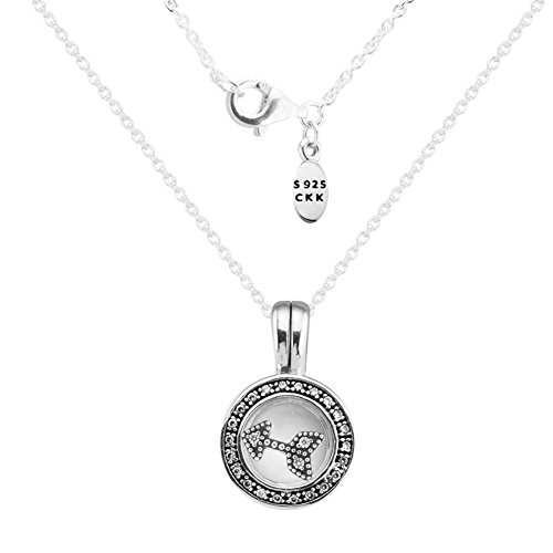 CKK Necklace 925 Sterling Silver Small Floating Locket Round Memory Necklaces with Arrow Petites Fit Pandora Petites Gift for Women,45cm