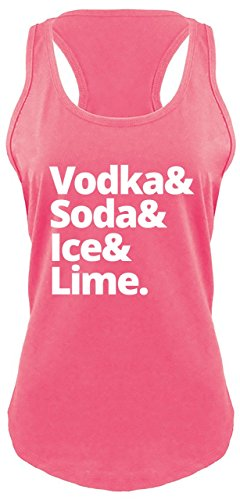 Ladies Racerback Tank Vodka Soda Ice and Lime Hot Pink with White Print M ()