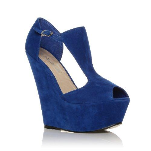 Enya Elektrisches Blau Kunstwildleder Stiefel mit Plateau und sehr hohem Keilabsatz, zehenfrei Elektrisches Blau Wildleder