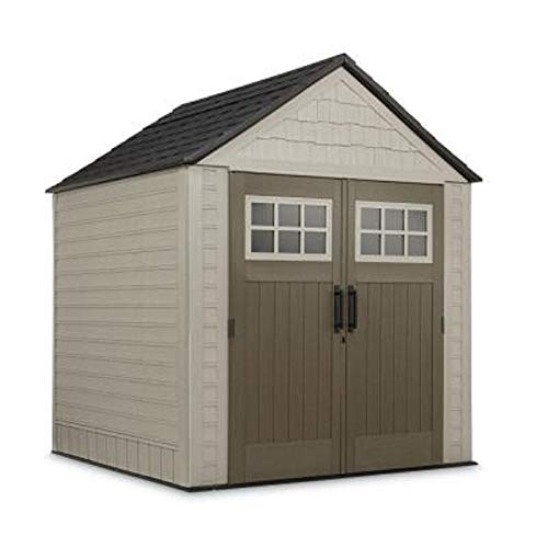 Rubbermaid 7 ft. x 7 ft. Big Max Storage Shed Great for storing riding mowers lawn garden equipment ~Includes tool & sports rack, utility & handle hook
