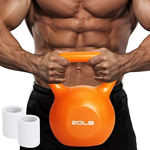 Midvalley Kettlebell Weight,2021 Vinyl Coated Kettlebell,Weights: 5, 10, 15, 20 lb Kettlebells for Home Gym Workout…