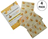 Reusable Organic Beeswax Food Wrap by Queen Bee - Assorted Set of 4 Eco Friendly Zero Waste Food Wraps Biodegradable Alternative to Cling Film