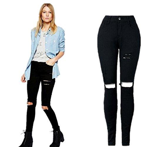 Lisingtool Women's Ripped Knee Cut Skinn - Pencil Cotton Women Trousers Shopping Results