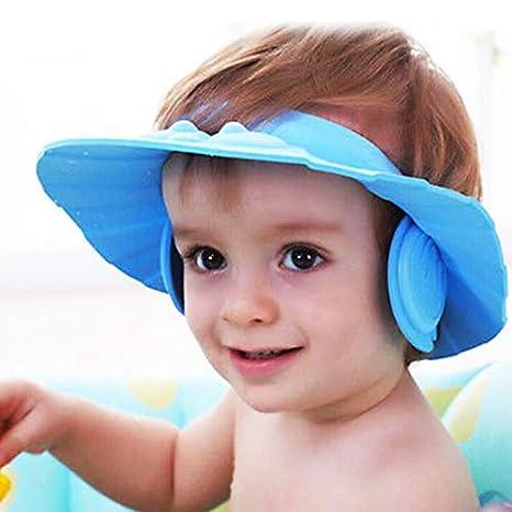 f942cbda7 CoWalkers Los niños del bebé embroma la gorra de baño a prueba de agua con  el oído Cómodo ajustable suave a prueba de agua champú ducha ...