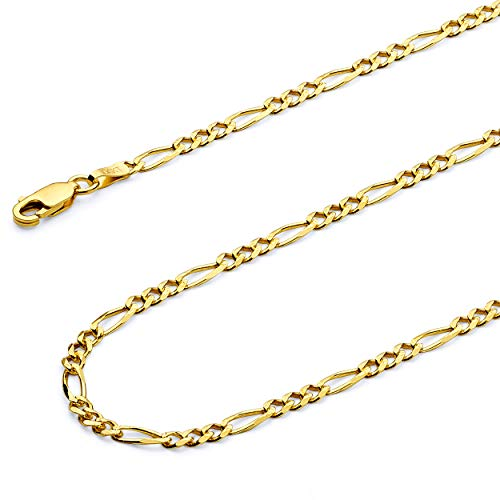 (GoldenMine Fine Jewelry Collection 14k Yellow Gold 3mm Figaro 3+1 Yellow Pave Chain Necklace - 24