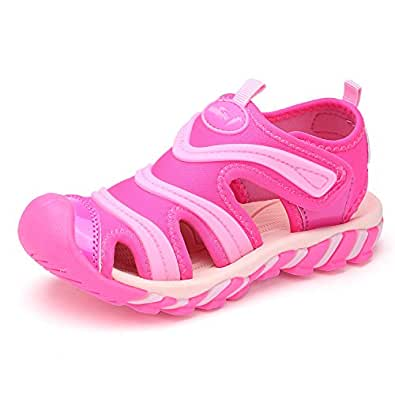 BTDREAM Boy's and Girl's Sports Sandals Breathable Closed-Toe Summer Outdoor Athletic Beach Shoes Pink Size: 3 Little Kid