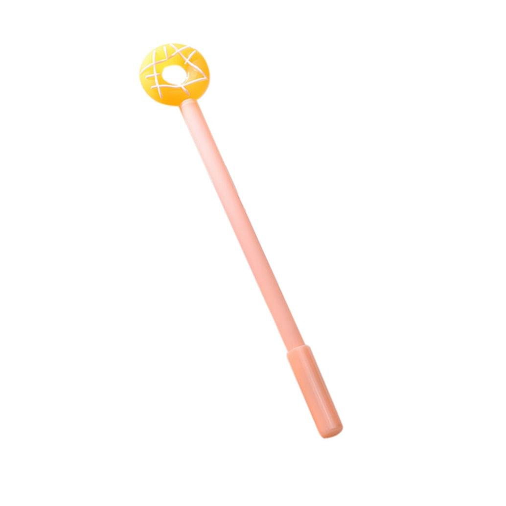 yjydadaドーナツデザインブラックGelインクペンローラーボール0.38 MMボールペンWritingひな形 free size オレンジ B07FDS814B オレンジ