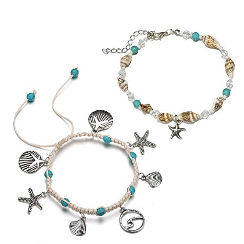 Handmade Starfish Charm Turquoise Conch Bead Beach Anklet Foot Chain for Women 2pcs