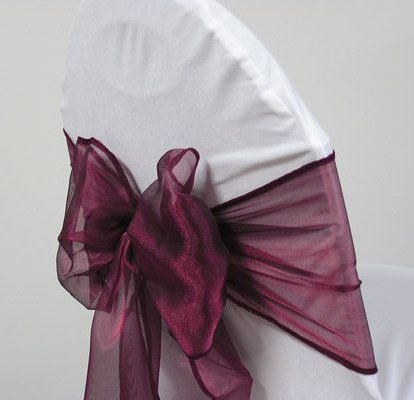 Mds Pack of 50 Organza chair sashes bow Sash for wedding and Events Supplies Party Decoration chair cover sash -Wine