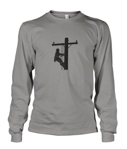 Lineman Style 4 Long Sleeve Unisex T-Shirt Tee Sports Gray - Shirts Lineman
