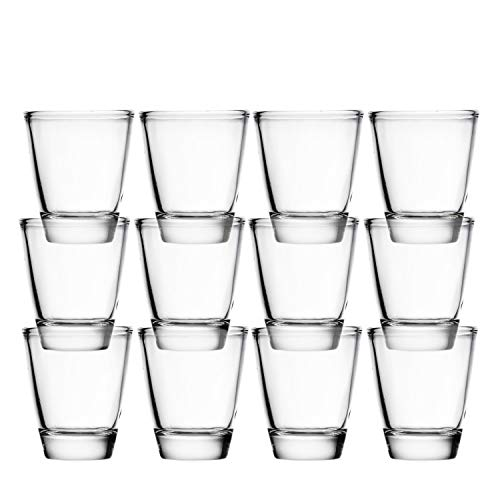 Clear Shot Glasses (Set of 12) 1.5 Ounce: Durable Heavy Base Shooter Glass for Whiskey, Cognac, Brandy, Tequila, Vodka | Great Gift & Party Booster for Many Occasions Birthday, Weddings, - Ounce 1.5 Shot Glass