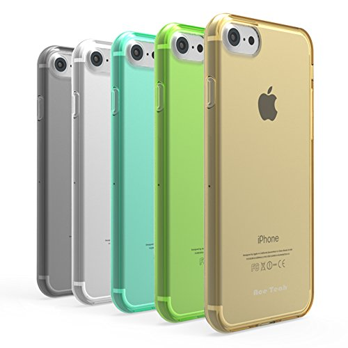 Ace Teah 5 Pack TPU Transparent Case,Compatible for iPhone 7 iPhone 8, Flexible TPU Transparent Colorful Case for Girls Protective Case (Black, White, Cyan, Golden, Chartreuse)