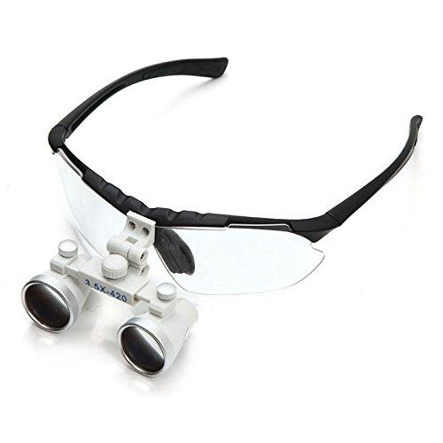 Zinnor 3.5x420mm Dental Surgical Medical Binocular Loupes Optical Glass Loupe + LED Head Light Lamp - USA Shipping (Black)