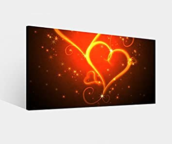 Amazon.de: Leinwandbild Herz Herzen rot Feuer Flamme Liebe love ...