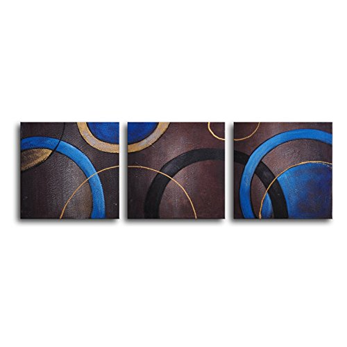 TJie Art Hand Painted Mordern Oil Paintings Circulation 3-Piece Canvas Wall Art For indoor use only,3-piece wall art in abstract style,Hand-painted artwork on canvas,Geometric shapes in a mix of brown/ blue/ gold, 60W x 20H inches