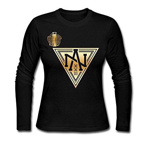 Women's Team North America 2016 World Cup Of Hockey Gold Logo Long Sleeve Tee Black