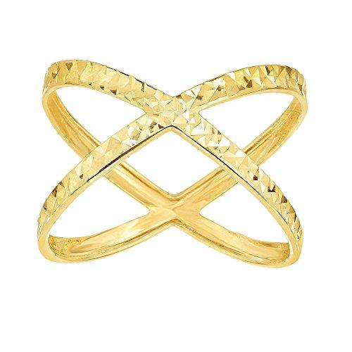 14k Yellow Gold Size 7 Polish Diamond Cut Finish Dubble Row X Shaped Ring by Diamond Sphere
