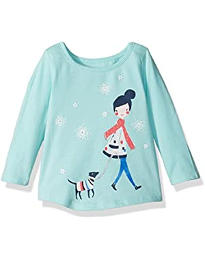Baby Girls' Blue Dog Graphic Tee