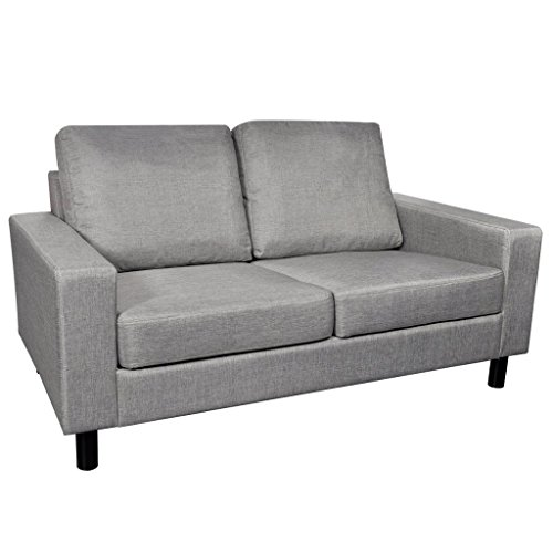 Festnight 2-Seater Upholstered Fabric Sofa Couch with Strong Wooden Frame, Dark Gray (2 Sofa Seater Beds)