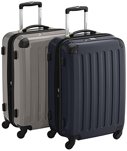 HAUPTSTADTKOFFER - Alex - 2er Koffer-Set Hartschale glänzend, 65 cm, 74 Liter, Graphit-Gelb Graphit-schwarz