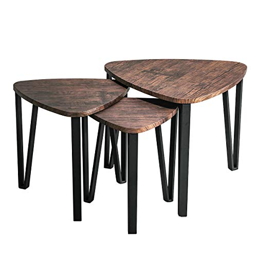 (Easy Assembly Industrial Nesting Tables Living Room Coffee Table Sets Stacking End Side Tables Leisure Wooden Nightstands Telephone Table for Home Office,Brown-CAS020 )