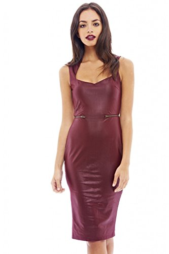Zip Front Leather Dress - 7
