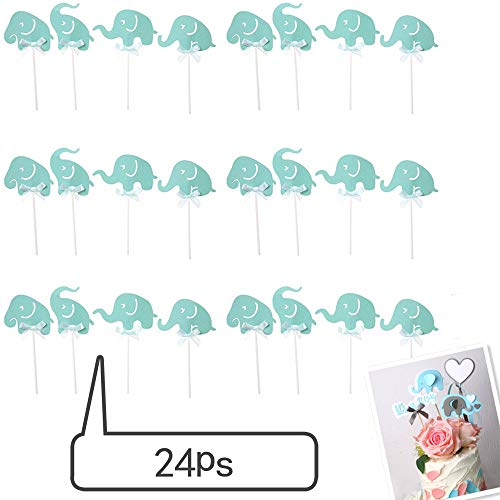 Topper Art - Efivs Arts 24 Pcs Blue Elephant Cake Cupcake Topper for Baby Shower Kids Birthday Party Themed Party Decorations
