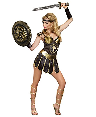 Dreamgirl 9404 Coliseum Gladiators Couples Costume - Small - Brown/Gold (Gladiator Costumes For Women)
