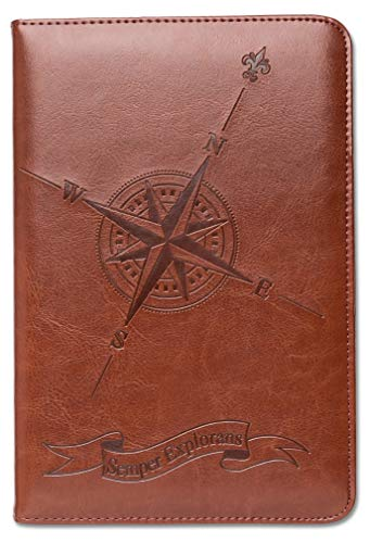 Compass Journal by SohoSpark, Writing Journal, Personal Diary, Lined Journal, Travel, 6x8.75 Notebook, Writers Notebook, Faux Leather, Refillable, Fountain Pen Safe, Nautical, Lay Flat Binding ()