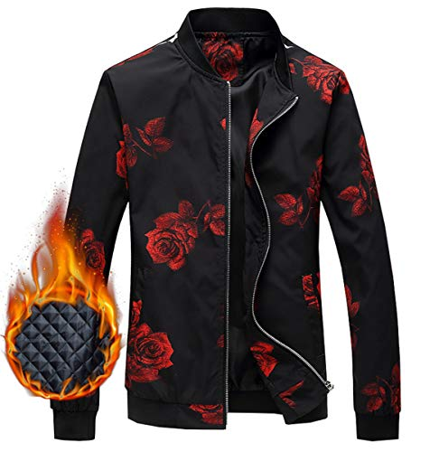 Men's Jacket, Floral Print Winter Outdoor Quilted Cotton Padded Bomber Jacket Windbreaker Coat Outerwear Men, 7#Padded, US X-Large/46 = Tag 5XL
