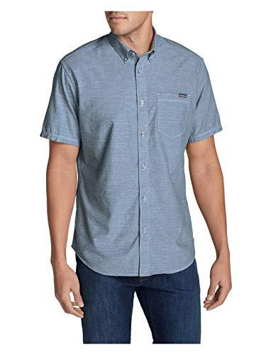 Eddie Bauer Men's Grifton Short-Sleeve Shirt - Solid, Chambray Blue Regular M Eddie Bauer Short Sleeve Shirt