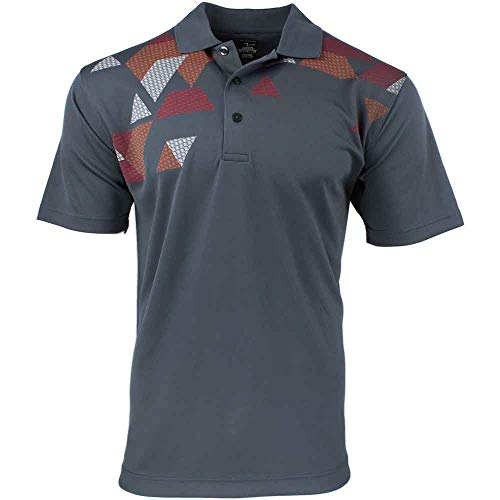 PAGE & TUTTLE Mens Argyle Chest Print Golf Casual Polo Grey L