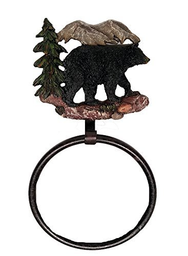 CCS Black Bear Decor Towel Ring (Cabin Towel Bar)