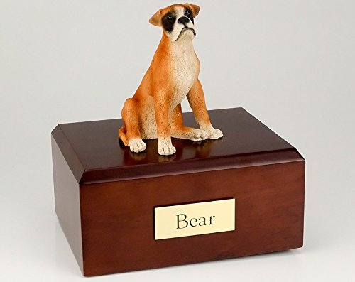 GENUINE North American Hardwood and Boxer Ears Down Figurine Dog Pet Urn - Down Figurine Ears