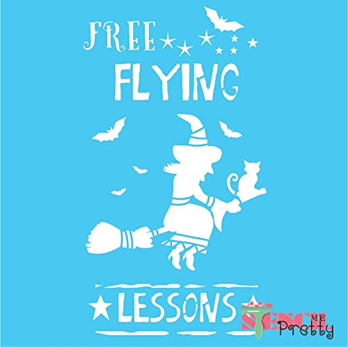 Free Flying Lessons Halloween Stencil - Witch Bat & Broom - Massive (16.5