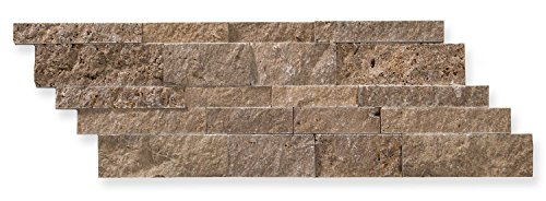 Noce Travertine 7 X 20 Stacked Ledger Wall Panel Tile, Split-faced (SMALL SAMPLE (Marble Tile Fireplaces)