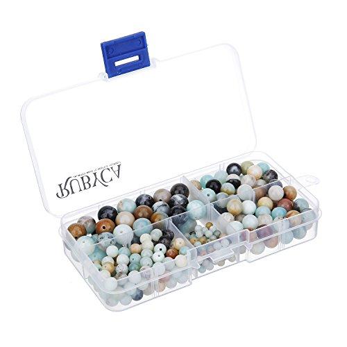 RUBYCA Natural Multi Color Amazonite Gemstone Round Loose Bead Organizer Box Jewelry Making Mix Size