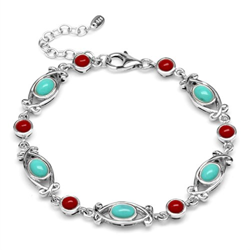 ise & Red Coral 925 Sterling Silver Victorian Style 6.5-7-8 Inch Adj. Bracelet ()
