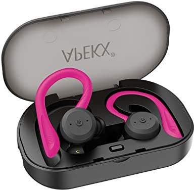 Wireless Headphones, APEKX True Wireless Bluetooth 5.0 Sports Earbuds, IPX7 Waterproof Stereo HiFi Sound, Built-in Mic Earphones with Charging Case Pink